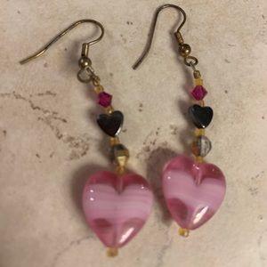 Vintage Glass Heart Dangling Earrings 🌺💕